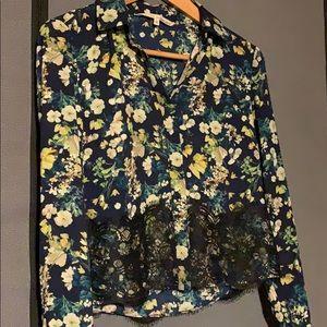 RACHEL Rachel Roy Floral Button Up Top w/ Lace